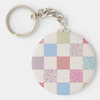 Colorful hearts quilt pattern keychain
