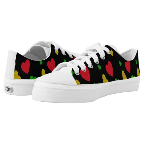 Colorful Hearts Red Green Yellow Valentines Day Low-Top Sneakers