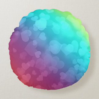 Colorful Hearts Round Pillow