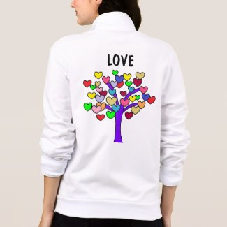 Colorful Hearts Tree Print Cute LOVE Jacket