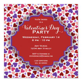 Colorful Hearts Valentine's Day Party Invitation