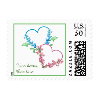 Colorful Hearts Watercolor Wedding Postage