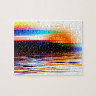 Colorful Heavenly Rainbow Sunset on the Beach Jigsaw Puzzle