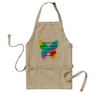 COLORFUL HEBREWS 11:1 BUTTERFLY DESIGN ADULT APRON