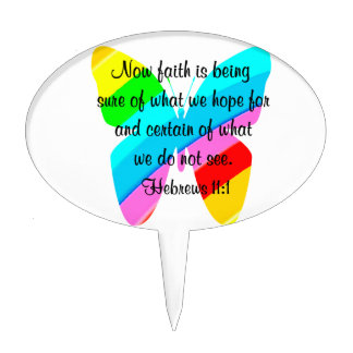 COLORFUL HEBREWS 11:1 BUTTERFLY DESIGN CAKE TOPPER