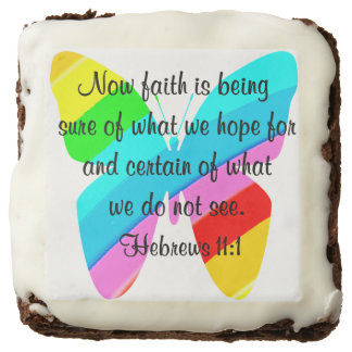 COLORFUL HEBREWS 11:1 BUTTERFLY DESIGN CHOCOLATE BROWNIE