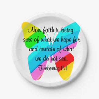 COLORFUL HEBREWS 11:1 BUTTERFLY DESIGN PAPER PLATE