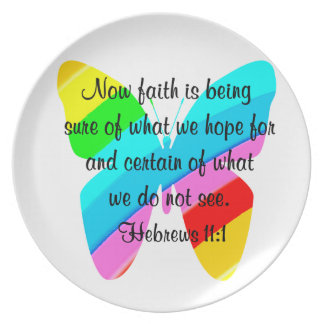 COLORFUL HEBREWS 11:1 BUTTERFLY DESIGN PLATE