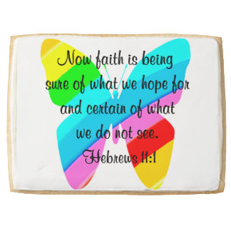 COLORFUL HEBREWS 11:1 BUTTERFLY DESIGN SHORTBREAD COOKIE