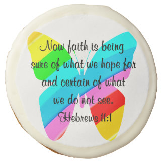 COLORFUL HEBREWS 11:1 BUTTERFLY DESIGN SUGAR COOKIE