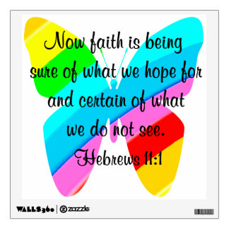 COLORFUL HEBREWS 11:1 BUTTERFLY DESIGN WALL DECAL