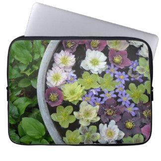 Colorful hellebore flowers laptop sleeve