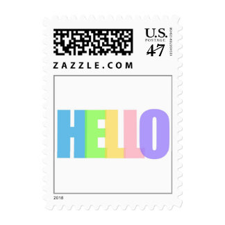 Colorful Hello Greeting Postage Stamp