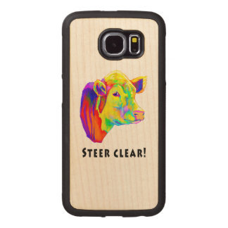 Colorful Hereford Cow: Steer Clear! Wood Phone Case