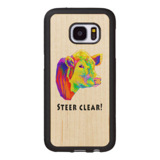 Colorful Hereford Cow: Steer Clear! Wood Samsung Galaxy S7 Case