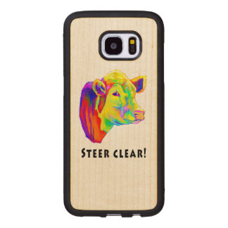 Colorful Hereford Cow: Steer Clear! Wood Samsung Galaxy S7 Edge Case
