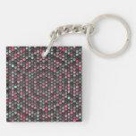 colorful hexagon mosaic pattern keychain