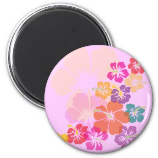 Colorful Hibiscus 2 Inch Round Magnet