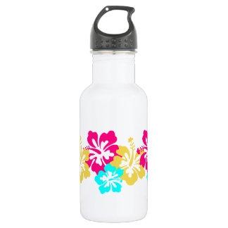 Colorful Hibiscus Design Water Bottle