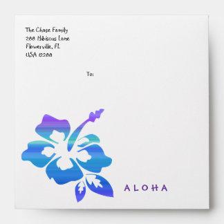 Colorful Hibiscus Flower Luau Party Blue Purple Envelope