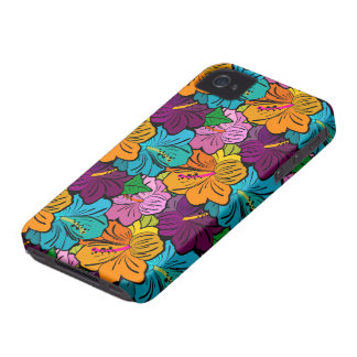 Colorful Hibiscus Flower Pattern iPhone 4 Covers