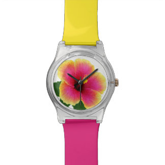 Colorful Hibiscus Flower Wristwatch