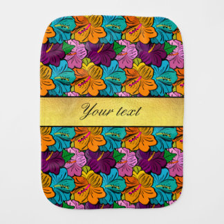 Colorful Hibiscus Flowers Pattern Baby Burp Cloth