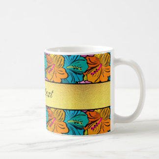 Colorful Hibiscus Flowers Pattern Coffee Mug