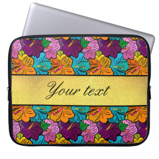 Colorful Hibiscus Flowers Pattern Computer Sleeve