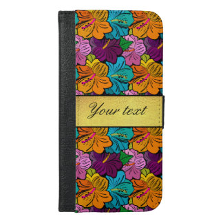Colorful Hibiscus Flowers Pattern iPhone 6/6s Plus Wallet Case