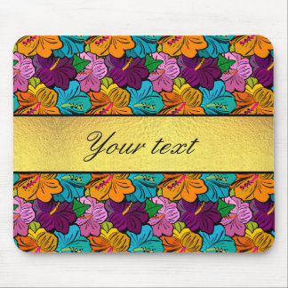 Colorful Hibiscus Flowers Pattern Mouse Pad