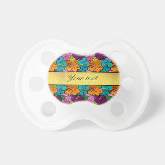 Colorful Hibiscus Flowers Pattern Pacifier