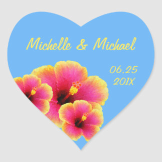 Colorful Hibiscus on Tropical Blue Wedding Heart Sticker