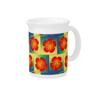 Colorful hibiscus seamless pattern beverage pitcher