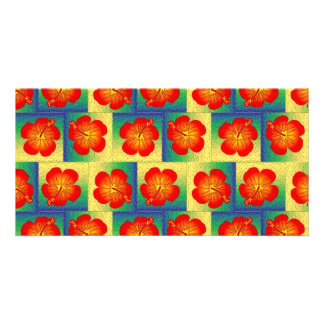 Colorful hibiscus seamless pattern card