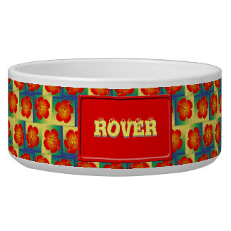 Colorful hibiscus seamless pattern dog bowls