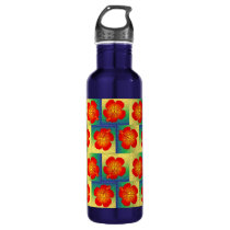 Colorful hibiscus seamless pattern water bottle