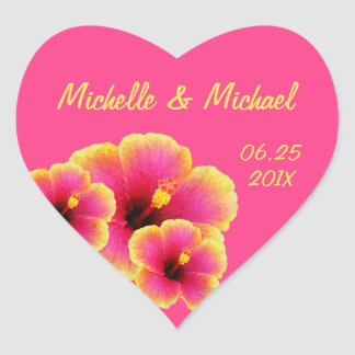 Colorful Hibiscus Tropical Wedding Heart Sticker