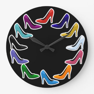 Colorful High Heel Shoes Large Clock