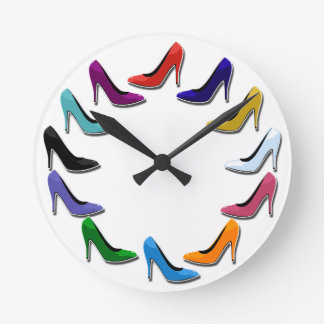Colorful High Heel Shoes Round Clock