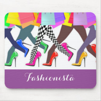 Colorful High Heels And Legs Typography Mouse Pad