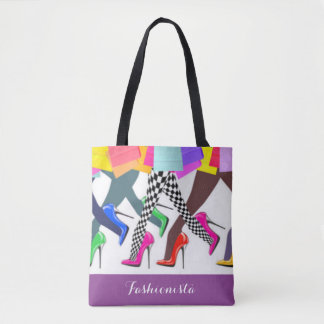 Colorful High Heels And Legs Typography Tote Bag