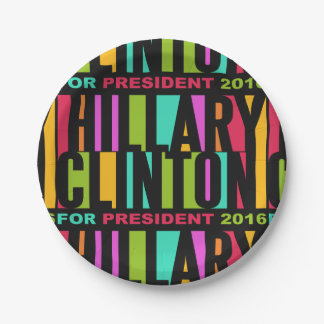 Colorful Hillary Clinton 2016 paper plates