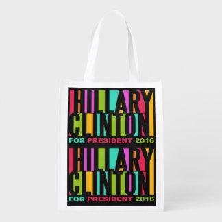 Colorful Hillary Clinton 2016 reusable bag