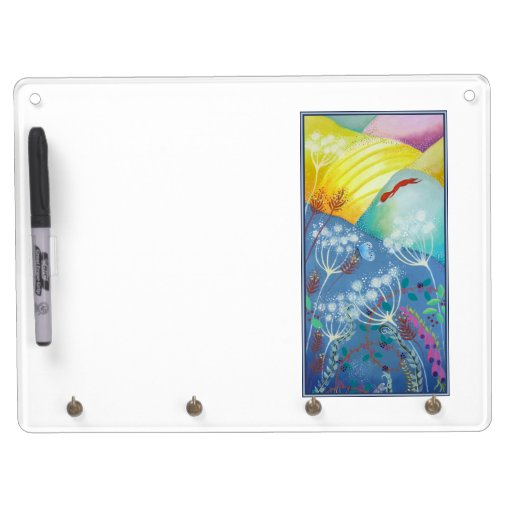 Colorful Hills, Plants and Fox. Dry Erase Boards