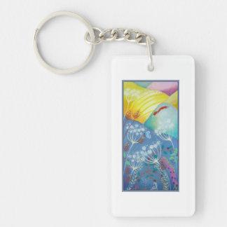 Colorful Hills, Plants and Fox. Single-Sided Rectangular Acrylic Keychain