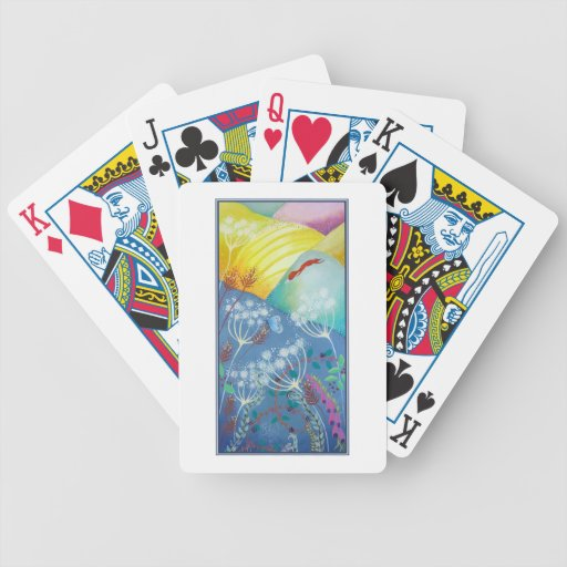 Colorful Hills, Plants and Fox. Bicycle Playing Cards