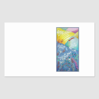 Colorful Hills, Plants and Fox. Rectangular Sticker