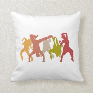 Colorful Hip Hop Dancers Throw Pillows