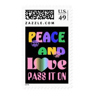 Colorful Hippie 60's Peace and Love Postage